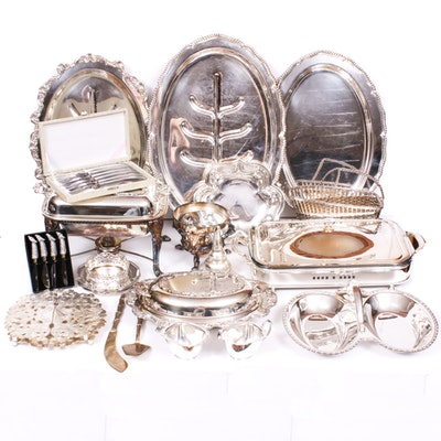 Silver Plate Serveware, Table Accessories and Flatware, Mid-20th Century