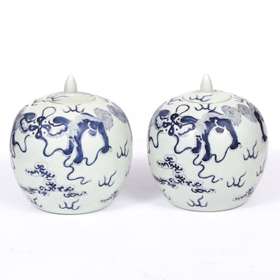 Chinese Hand-Painted Blue and White Ginger Jars with Guardian Lions, Vintage