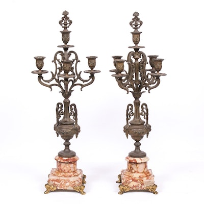 Ornate Cast Spelter and Marble Mantel Candelabra