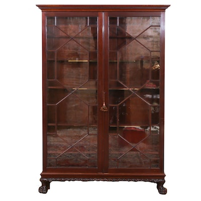 George III Style Mahogany Display Cabinet, Early to Mid 20th Century