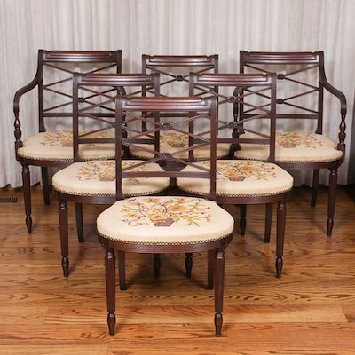 Six Federal Style Mahogany-Stained Dining Chairs, Early to Mid 20th Century