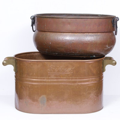 Copper Wash Bucket and Pail, Mid-20th Century