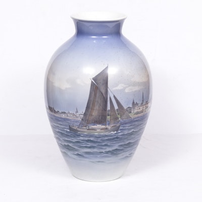 Royal Copenhagen Ship Porcelain Floor Vase