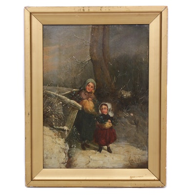 Mother and Child Winter Scene Oil Painting, Early 20th Century