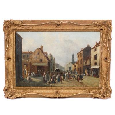 European Village Street Scene Oil Painting, Late 19th Century