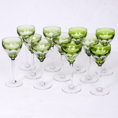 "Val St. Lambert ""Gevaert"" Crystal Roemer Wine Glasses"