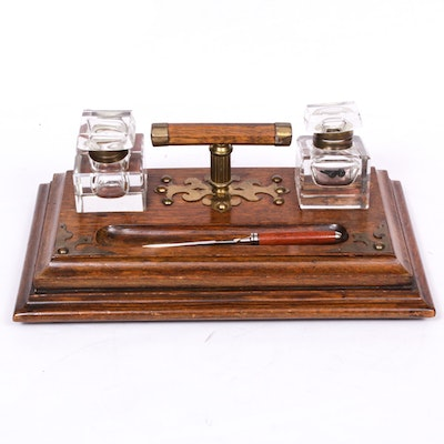 Oak Writing Stand with Glass Inkwells, Late 19th Century