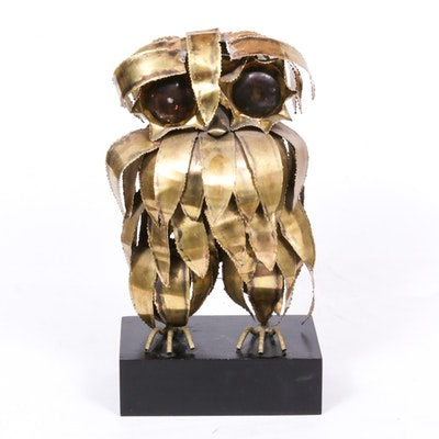 Laser-Cut Brass Owl Sculpture in the Style of Curtis Jere, Mid 20th Century