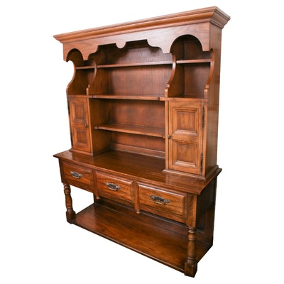 American Colonial Style Fruitwood Cupboard, Mid-20th Century