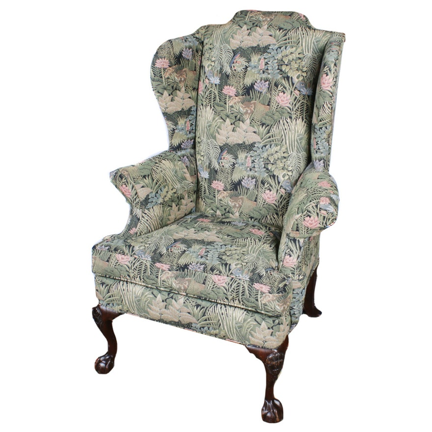 Century Jungle Upholstered Wingback Chair, Mid to Late 20th Century