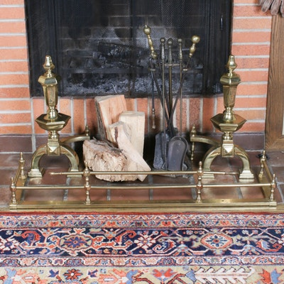 Brass Colonial Fireplace Fence and Andirons, Early to Mid 20th Century