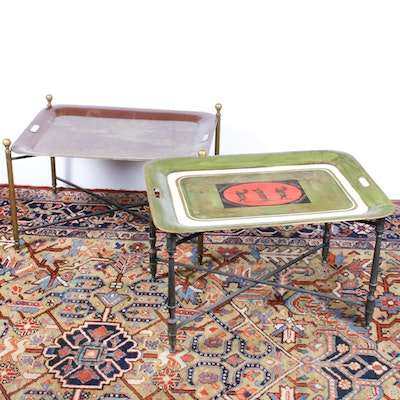 Two Tole Tray Tables with Classical and Asian Motifs, 1980s
