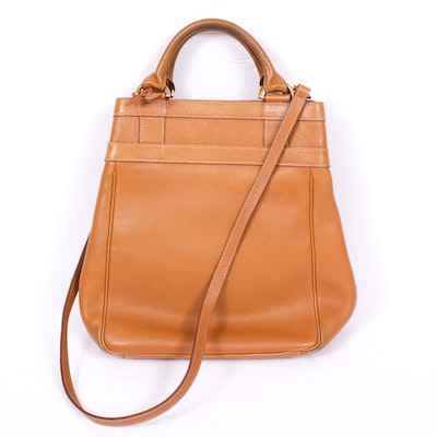 Delvaux Bruxelles of France Pebbled Cognac Leather Convertible Bag