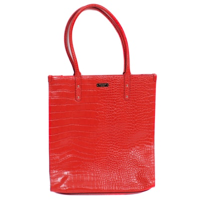 Kate Spade New York Crocodile Embossed Red Leather Shoulder Bag