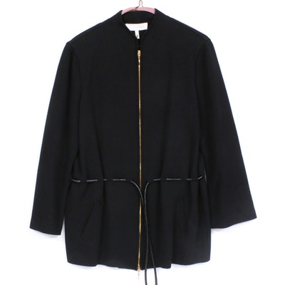 Escada Black Wool Blend Cinch-Waist Jacket with Tie Belt