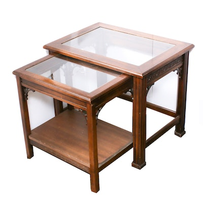 Chippendale Style Nesting Tables with Glass Inlay, Mid-20th Century