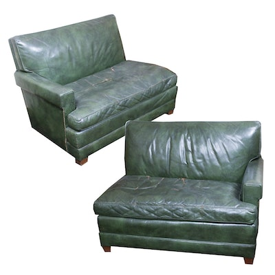 Hickory Chair Company, Green Leather Sectional Sofa, Mid-20th Century