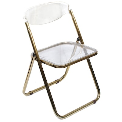 Acrylic and Metal Folding Chairs, Mid to Late 20th Century