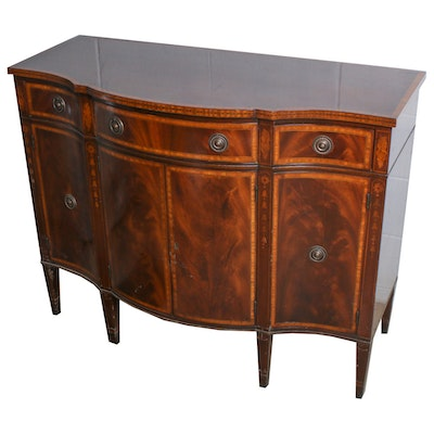 William A. Berkey, Federal Style Mahogany and Marquetry Sideboard, Mid-20th C.