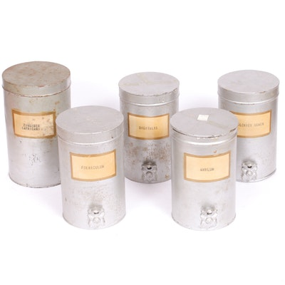Metal Kitchen Spice Canisters, Early to Mid-20th Century