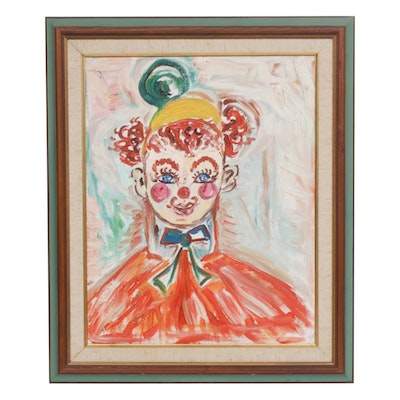 Oil Painting of Stylized Clown Portrait
