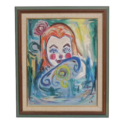 Oil Painting of Clown Stylized Portrait