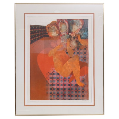 Modernist Embossed Serigraph of Three Figures