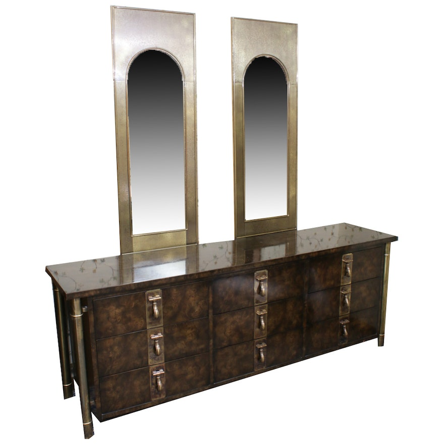 Mastercraft Mid Century Modern Burlwood and Gold Dresser with Arched Mirrors
