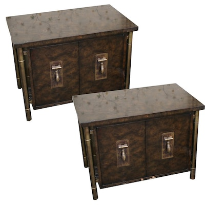Mastercraft Mid Century Modern Burlwood and Gold Nightstands