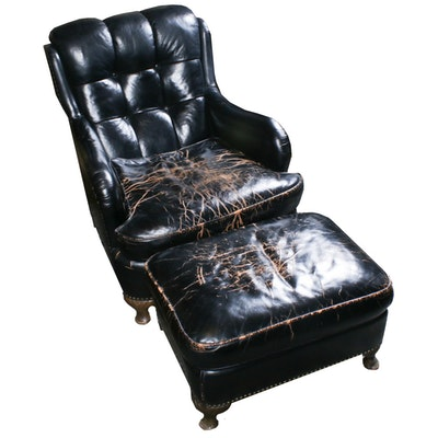 Jamestown-Royal, Black Leather Tufted Back Armchair and Ottoman, Mid-20th C.