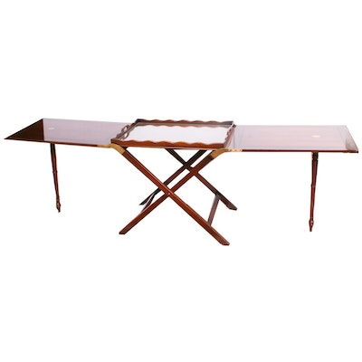 Cherry Stained Folding Hunt Tray Table, Mid-20th Century