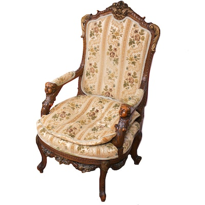 Baroque Style Parcel-Gilt and Carved Open Armchair