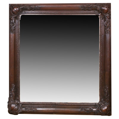 Baroque Style Carved Wooden Accented Mirror, Early 20th Century