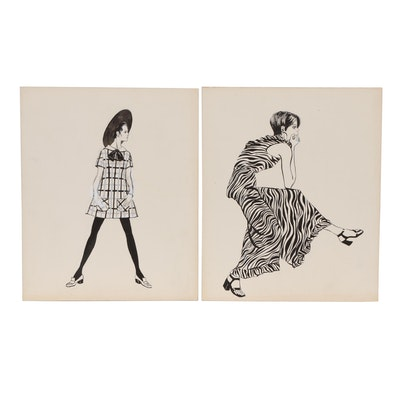 Margaret Voelker-Ferrier Embellished Ink Fashion Illustrations