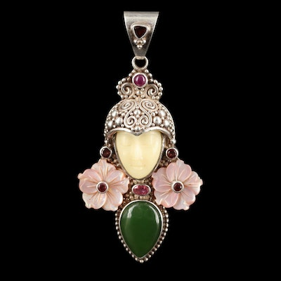 Sajen Sterling Silver Mother Of Pearl, Nephrite and Bone Pendant