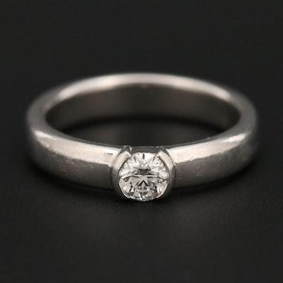 Tiffany & Co. Platinum Diamond Semi-Bezel Ring