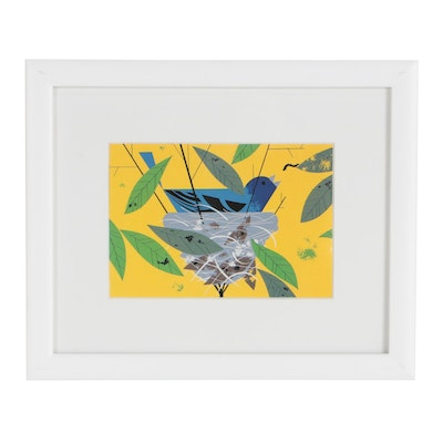 "Offset Lithograph after Charley Harper ""Indigo Bunting"""