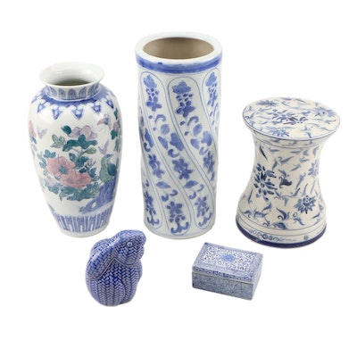 East Asian Blue and White Ceramic Vases, Stand, Box, and Rabbit