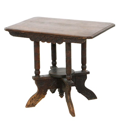 Victorian Oak Top Parlor Table, Late 19th Century