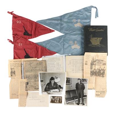 World War II U.S.S. Belleau Wood Ephemera, Military Unit Flags, and Photographs