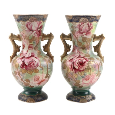 Hand-Painted Ceramic Vases with Enamel and Gilt Embellishments