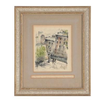 """Watercolor Painting """"La Rue du Calvaire"""", circa 1950"""