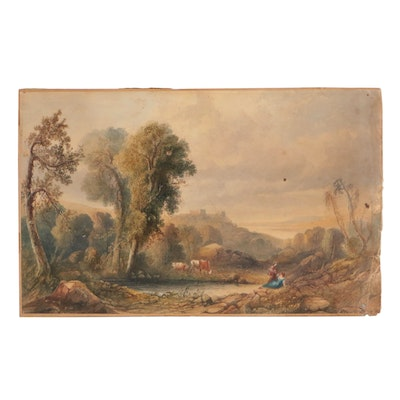 English School Pastoral Landscape Watercolor Painting, Late 19th Century