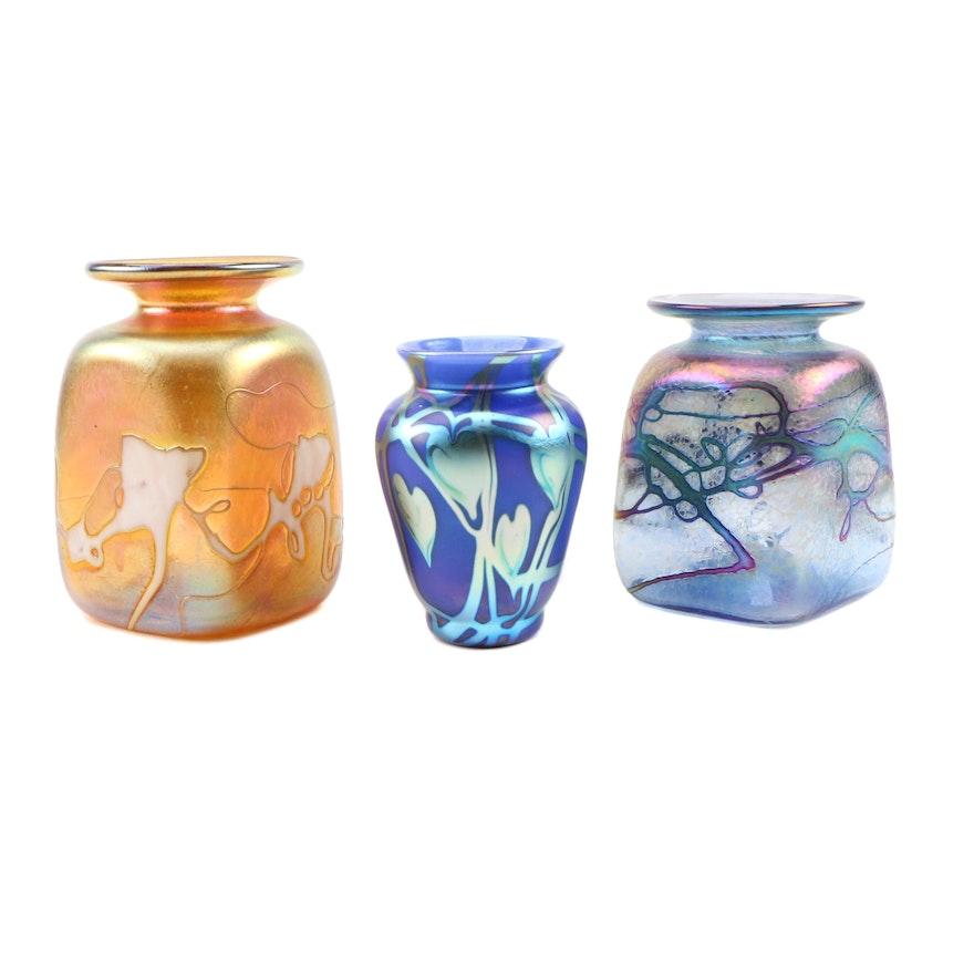 Robert Held Hand Blown Iridescent Square Art Glass Vases