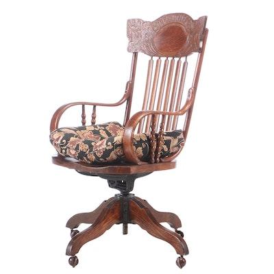 Late Victorian Oak Pressed-Back Swivel Office Armchair, circa 1900