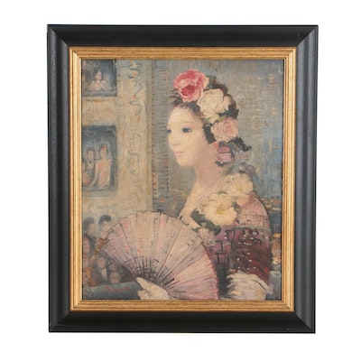 Oil Portrait Painting of Woman with Fan
