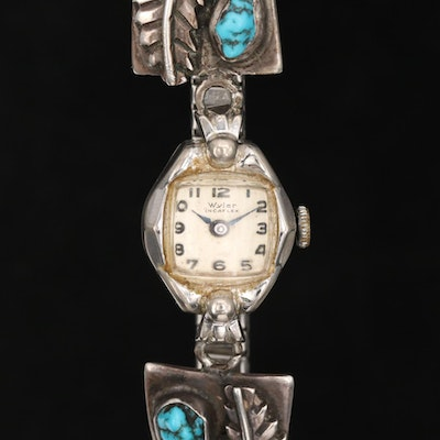 Vintage Wyler Stem Wind With Southwestern Style Sterling and Turquoise End Links