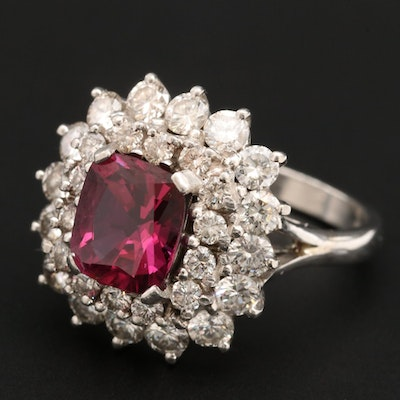 Platinum 2.62 CT Ruby and 1.81 CTW Diamond Ring with AGL Report