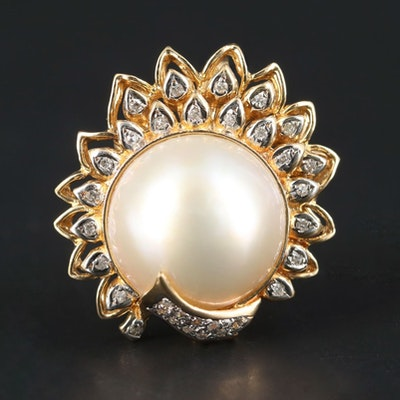 14K Yellow Gold Cultured Pearl and Diamond Converter Brooch