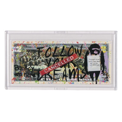 """Rency Giclée on Two Dollar Bill """"Banksy was Here"""""""